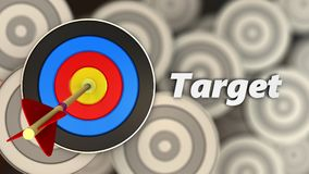 3d target with sign. 3d illustration of target with sign over multiple targets background Stock Photo
