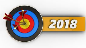 3d target with 2018 sign. 3d illustration of target with 2018 sign over white background Royalty Free Stock Photos