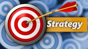 3d target with strategy. 3d illustration of target with strategy over many targets background Stock Photo