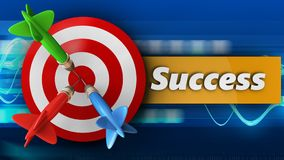 3d target with success. 3d illustration of target with success over blue waves background Royalty Free Stock Photos