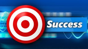 3d target with success. 3d illustration of target with success over blue waves background Royalty Free Stock Images