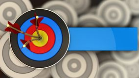 3d target with three arrows. 3d illustration of target with three arrows over multiple targets background Royalty Free Stock Photos