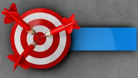 3d target with three darts. 3d illustration of target with three darts over concrete background Stock Images