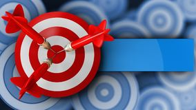 3d target with three darts. 3d illustration of target with three darts over many targets background Royalty Free Stock Photos