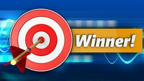 3d target with winner sign. 3d illustration of target with winner sign over blue waves background Stock Photos