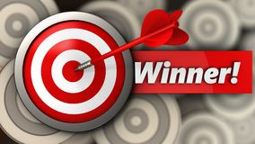 3d target with winner sign. 3d illustration of target with winner sign over multiple targets background Royalty Free Stock Photo