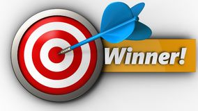 3d target with winner sign. 3d illustration of target with winner sign over white background Stock Photos
