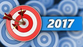 3d target with 2017 year sign. 3d illustration of target with 2017 year sign over many targets background Royalty Free Stock Photography