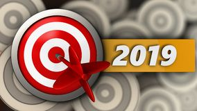 3d target with 2019 year sign. 3d illustration of target with 2019 year sign over multiple targets background Royalty Free Stock Photo