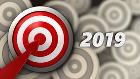 3d target with 2019 year sign. 3d illustration of target with 2019 year sign over multiple targets background Royalty Free Stock Images