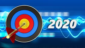 3d target with 2020 year sign. 3d illustration of target with 2020 year sign over blue waves background Stock Photo