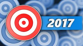 3d target with 2017 year sign. 3d illustration of target with 2017 year sign over many targets background Stock Image