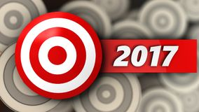 3d target with 2017 year sign. 3d illustration of target with 2017 year sign over multiple targets background Stock Photo