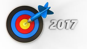 3d target with 2017 year sign. 3d illustration of target with 2017 year sign over white background Stock Photos