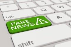 3d - Tastatur - gefälschte Nachrichten - Grün Stockfoto