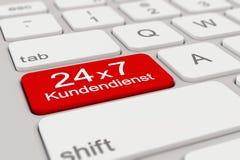 3d - Tastatur - Kundendienst - 24 x 7 - Rot Stockfotos