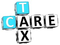3D Tax Care Crossword text Royalty Free Stock Images