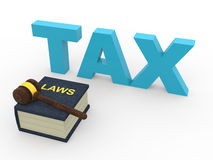 3d tax laws concept with wooden gavel Royalty Free Stock Image