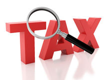 3d tax and a magnifying glass white background Royalty Free Stock Image