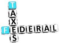 3D Taxes Federal text Crossword Stock Images