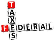 3D Taxes Federal text Crossword. On white background Stock Images