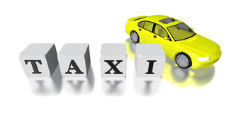 3D taxi car and logo isolated in white Royalty Free Stock Images