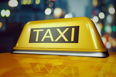 3d taxi in the night city Stock Image