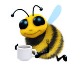 3d Tea break bee. 3d render of a bee with a cup of tea Royalty Free Stock Images