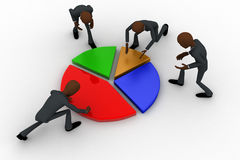 3d team of men connecting pie graph concept Royalty Free Stock Image