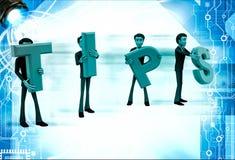 3d team of men holding tips letters illustration Stock Photo