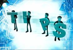 3d team of men holding tips letters illustration Stock Images