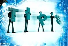 3d team of men holding tips letters illustration Stock Image