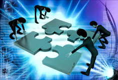 3d team of men solve puzzle illustration Royalty Free Stock Images
