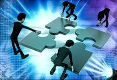 3d team of men solve puzzle illustration Stock Photos