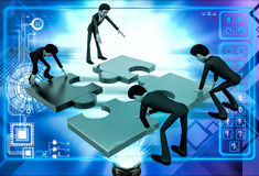 3d team of men solve puzzle illustration Royalty Free Stock Photo