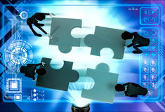 3d team of men solve puzzle illustration Stock Photography