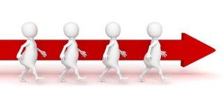 3d team people walk forward red arrow flow. Business success teamwork concept 3d render illustration Stock Photos