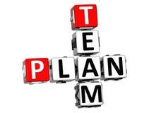 3D Team Plan Crossword auf weißem Hintergrund Stockbild