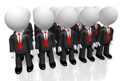 3D teamwork concept. 3D cartoon characters wearing black suites and red ties - businessmen concept Stock Photo