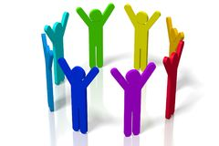 3D teamwork concept - white background. 3D colorful cartoon characters with raised hands on white background - great for topics like teamwork, being active Stock Photos
