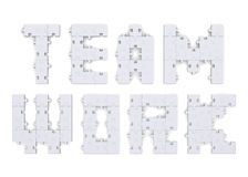 3d teamwork text assembled of puzzles Royalty Free Stock Photography