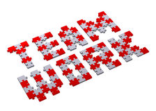 3d teamwork text assembled of puzzles, perspective Royalty Free Stock Images