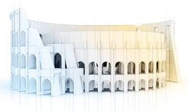 3d technical drawing roman Coliseum Royalty Free Stock Image