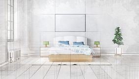 3d technical drawing style, beautiful bedroom interior with a large bed Stock Images