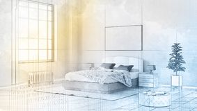 3d technical drawing style, beautiful bedroom interior with a large bed Stock Photo