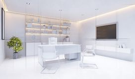 3d technical drawing style,  White modern interior of boss office Royalty Free Stock Photography