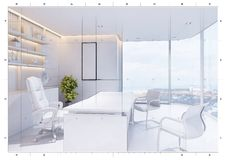 3d technical drawing style,  White modern interior of boss office Stock Photo