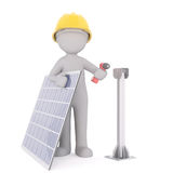 3d technician or engineer with photovoltaic panel. 3d technician or engineer with a photovoltaic panel and stand for its installation holding a drill in his hand Stock Photo
