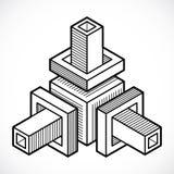 3D techniek vector, abstracte vorm gemaakt gebruikend kubussen en geome Royalty-vrije Stock Foto
