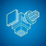 3D techniek vector, abstracte vorm gemaakt gebruikend kubussen en geome Stock Foto's